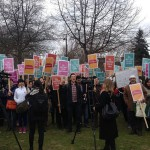 500 students, faculty and supporters from Vancouver Community College (VCC) protest cuts to English classes for immigrants./ESL Matters/ facebook