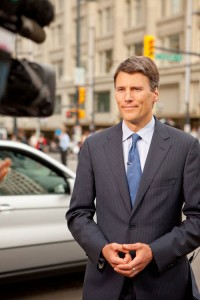 Mayor Gregor Robertson poses in downtown Vancouver. Robertson announced his intent to run for a third term as mayor.
