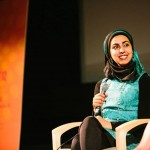 Writer Zarqa Nawaz speaks at the Indian Summer Festival in Vancouver July 9. Photo by Nick Siu.